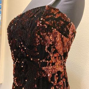 Milly Elle Black Velvet and Copper Sequin Dress